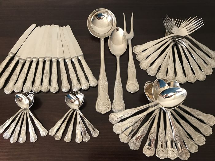 A complete A.P. silver plated flatware set for 12 people in a box with Kingu0027s motif & A complete A.P. silver plated flatware set for 12 people in a box ...