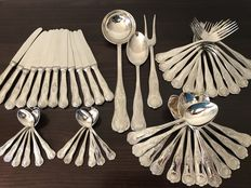 A complete A.P. silver plated flatware set for 12 people in a box with King's motif