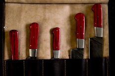 Damascus steel Chef kitchen knives set, leather roll/bag..