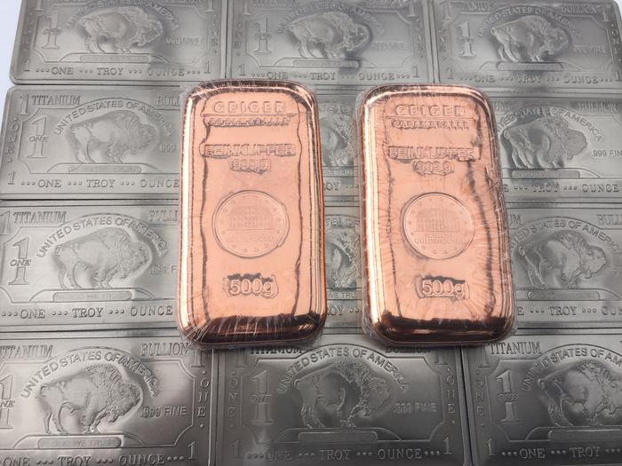 Geiger / USA - 2 x 500 g 999 copper bars + 12 x 1 oz 373.2 g 999 Titanium bar - sealed