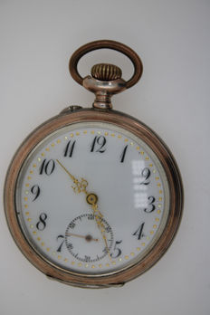 Men's Savonette pocket watch silver 800 old 1950 78.70 g