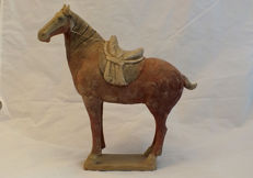 Tang Dynasty Pottery Horse with Saddle, TL Test - H. 32 cm.