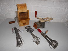 Antique almond grater, Italian cheese grater and 3 old manual beaters, beautiful items from the old artisenal kitchen!