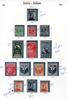 Italy 1906/24 -  Lot of 20 stamps - SASS# 81, 82, 92/95, 96, 97/98, 99/109