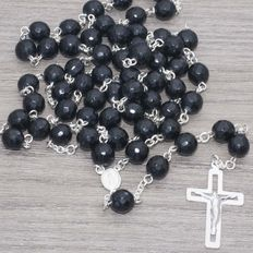 Rosary of Faceted Onyx Stone with Sterling Silver.