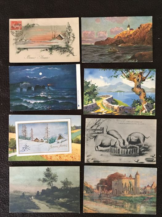 lot of about 750 postcards of France, art and celebrities and various France - early 20th century to the 1960s various France