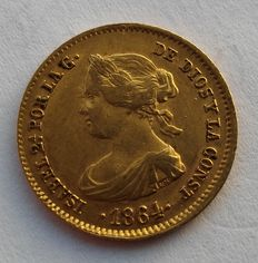 Spain - 40 gold reals - 1864 - Isabel II - minted in Madrid