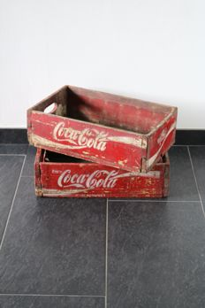 Two original red wooden Coca-Cola crates from America