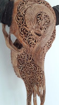 Hand engraved water buffalo skull (dragon) - Bali - Indonesia
