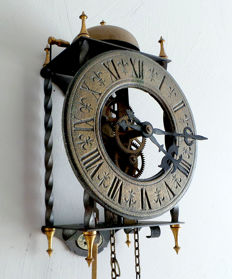 "Mechanical ""Tempus Fugit"" skeleton clock with a bell every hour."