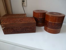 Wooden cigars box and leather storage boxes