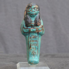 Egyptian bi-chrome faience ushabti - 10.2 cm
