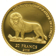 Congo Republic – 20 Francs 2006 'Babe Pig' – 1/25oz gold