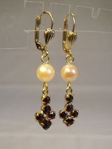 Antique Victorian garnet drop earrings with genuine Akoya pearls and rose-cut garnets