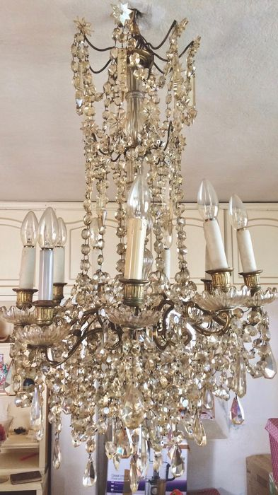Second French Empire gilt bronze and crystal glass 8-light chandelier - France, late 19th century