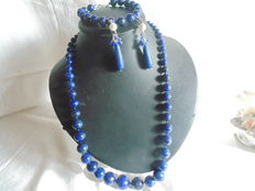 Lapis lazuli set – necklace, bracelet and earrings with sterling silver.