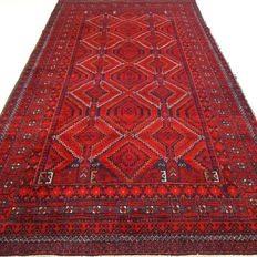 "Semi-antique Hamadan - 197 x 106 cm - ""Persian carpet in red in beautiful semi-antique condition"". - Pay attention! no reserve price: starting at €1,-"
