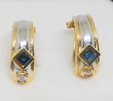 Earrings in 18 kt yellow and white gold - sapphires and diamonds - Size: 18 mm long