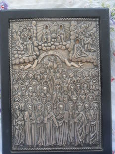 Saints everyone - Greek icon - silver 950 degrees -(see fotos certificat) Greece 20e eeuw