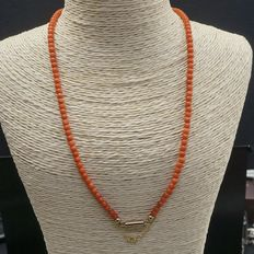 Precious coral necklace with a 14 kt gold clasp, length 43 cm