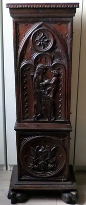 Wooden cabinet with hand carved religious scenes - Italy- 16th/17th century (?)