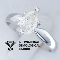 IGI 1.00 ct Pear Brilliant Cut Diamond Engagement Solitaire Ring, size 55 / 17.50 mm ***Free Resize***
