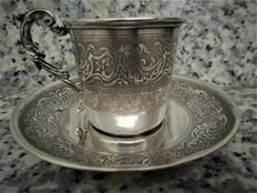 Silver cup and saucer, France, silversmith Armand Gross, late 19th century