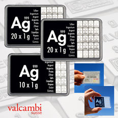 Switzerland - 2x 20 + 1x 10 g (3 pieces) silver bar 'Valcambi ESG CombiBar' - 50 g silver
