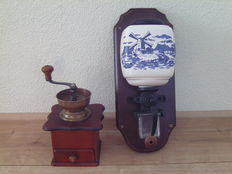 Two coffee grinders, porcelain and wood - decorated with farm and mill