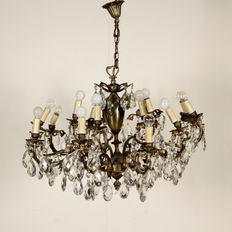 12 light brass chandelier with crystal glass prisms - Italy, 20th century