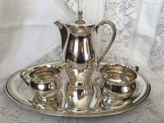 Carl M. Cohr (1893-1937) - 4-piece Danish silver Mocha tableware with tray.