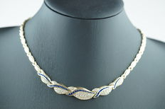 14 karat gold necklace (choker) set with white and blue sapphires, length 45 cm