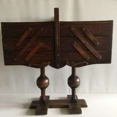 Large oak foldable trapeze model sewing box from ca. 1925