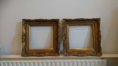 Two gold plated Baroque frames with corner ornaments