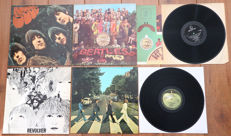 The Beatles- Great lot of 4 classic lp's, all early pressings & in wonderful condition: Rubber Soul, Sgt. Pepper's (w. cut-outs insert), Revolver & Abbey Road