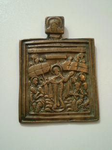 Antique russians brass icon about 1800 with Mandylion