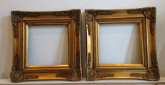 Two gold plated Baroque frames with corner ornaments, early 21st century