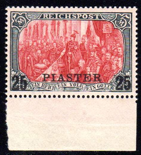 Deutsche Post Turkey -- 1900 -- '5 Mark Reichspost' (5 Mark Imperial Post), with 25 Piaster overprint, Michel 23 I Type II