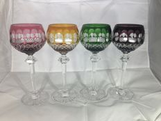 Brand unknown - coloured cut crystal wine glasses - second half 20th century