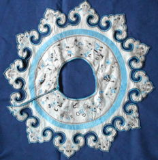 Antique Qing dynasty embroidered Silk Cloud Collar unframed embroidery textile   - China - ca 1880-1910