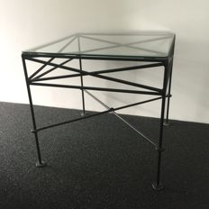 Two French side tables with glass plate - 2nd half of 20th century