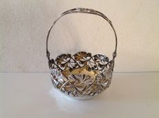 Beautiful open work silver basket with gilded interior. Complete with handle, 2nd half 19th century.