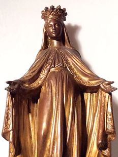 Crowned Mary – French – bronze – Belgium - late 19th century.