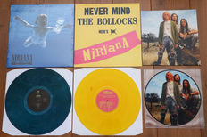 Nirvana- lot of 3 lp's: Nevermind (on blue marbled wax)/ Never Mind The Bollocks Here's Nirvana (first radio session, numbered 35/150, yellow wax)/ Come As You Are picture disc lp (250 copies worldwide for Nirvana Fan Club Japan)