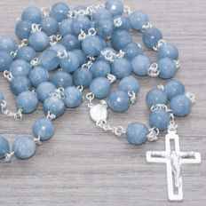 Rosary made of faceted Aquamarine beads with sterling silver.