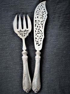 silver serving utensils for fish, France
