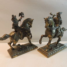 2 metal sculptures 'The Hunt' falcon on horseback