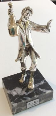 Sculpture, silver plated 925 - dancing Hasid with a bottle - XX - Israel