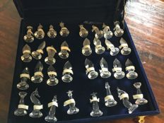Crystal chess set in luxury storage box (excluding chessboard)