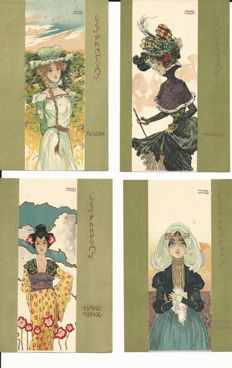 Old postcards world - 6 cards - Kirchner - art nouveau - complete perfumes series